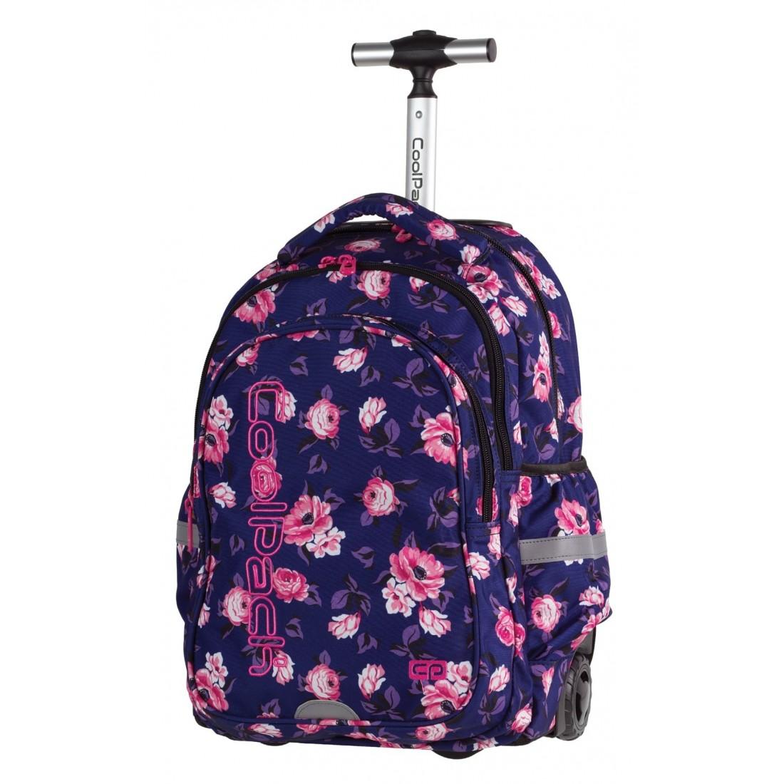 Plecak na kółkach CoolPack CP granatowy w róże JUNIOR ROSE GARDEN 1071 dla dziewczynki