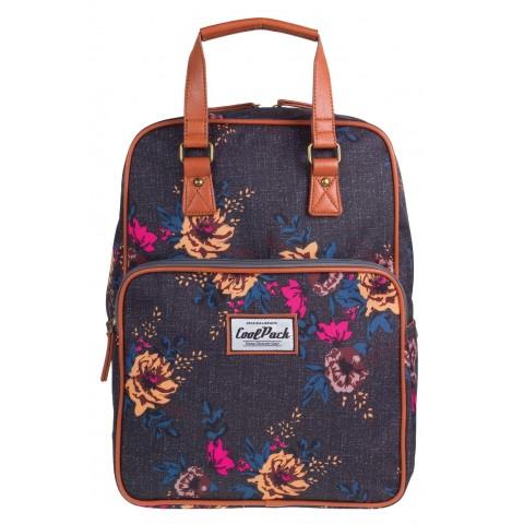 Plecak miejski CoolPack CP vintage szary w kwiaty CUBIC GREY DENIM FLOWERS 1031