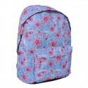 Plecak młodzieżowy niebieski w różowe kwiaty