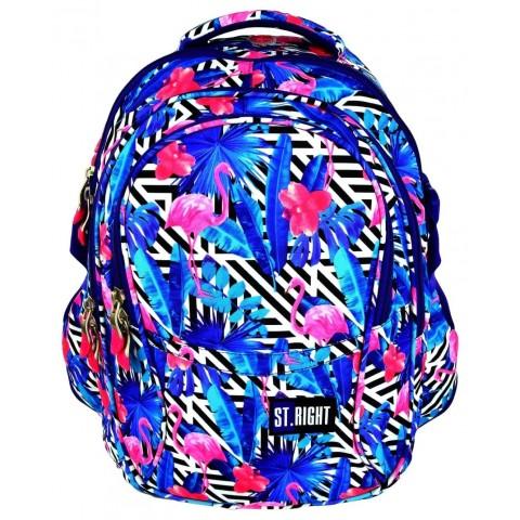Plecak młodzieżowy 01 ST.RIGHT FLAMINGO PINK&BLUE flaming niebieski