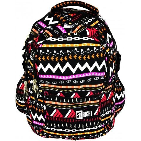 Plecak młodzieżowy 01 ST.RIGHT ZIG ZAG czarny w zygzaki