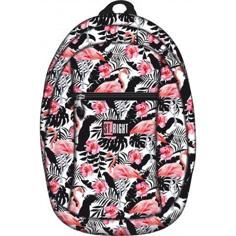 Plecak miejski, wycieczkowy 09 ST.RIGHT FLAMINGO PINK&BLACK flaming czarno-biały