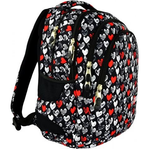 Plecak młodzieżowy 06 ST.RIGHT HEARTBEAT czarny w serduszka