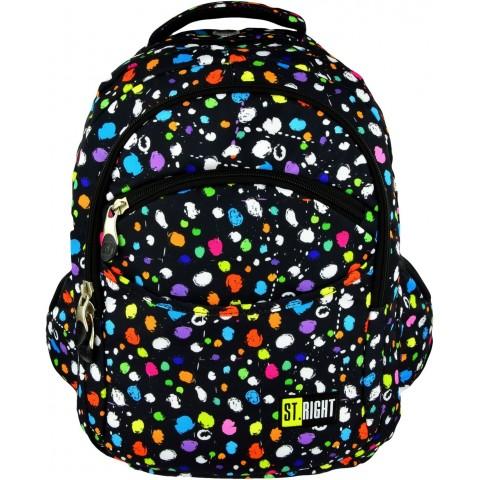Plecak młodzieżowy 03 ST.RIGHT SPLASH czarny w kropki