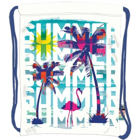 Worek / plecak na sznurkach ST.RIGHT SUMMER lato z flamingiem