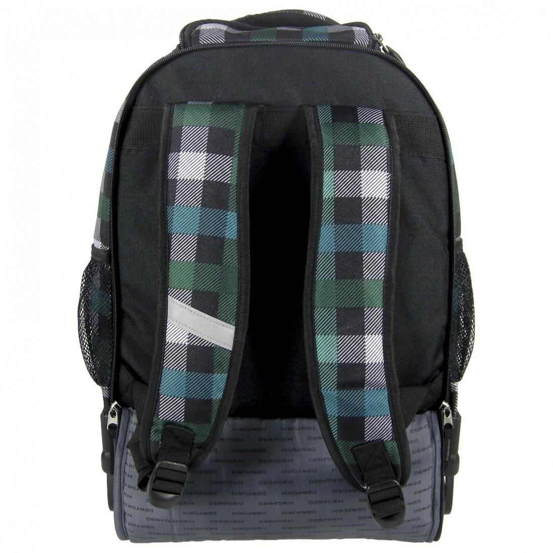 Plecak na Kółkach Zielony w Kratę - plecak-tornister.pl