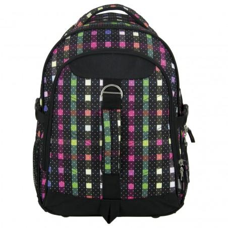 Plecak na Kółkach Czarny w Kolorowe Kropeczki i Kwadraty