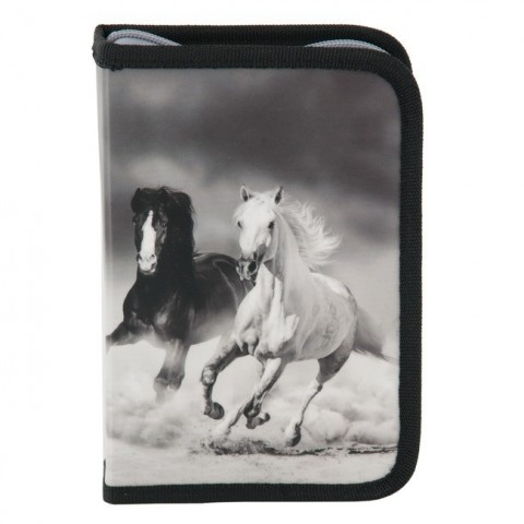 Piórnik bez wyposażenia Paso konie - szary
