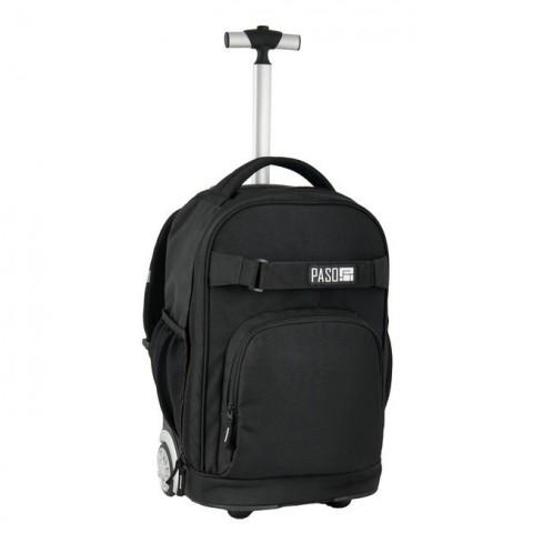 Plecak na kółkach Paso Unique Black - kolor czarny