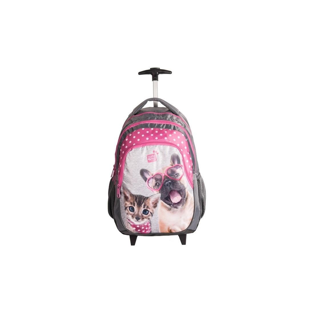 kupuj bestsellery wylot online Darmowa dostawa Plecak na kółkach do szkoły Paso pies i kot dla dziewczynki.