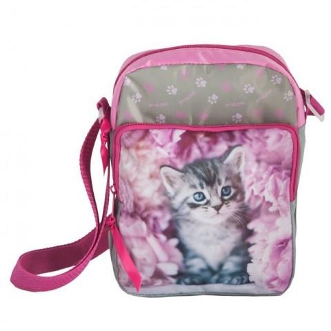 Torebka na ramię różowa z szarym kotkiem