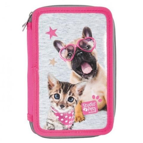Piórnik z wyposażeniem Studio Pets szaro-różowy pies i kot