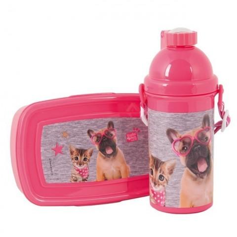 Zestaw śniadaniowy szaro-różowy pies i kot