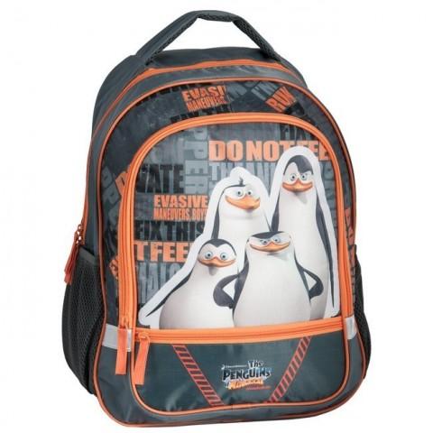 Plecak szkolny Pingwiny z Madagaskaru szaro-pomarańczowy