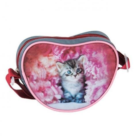 Torebka serduszko Rachael Hale różowa z szarym kotkiem