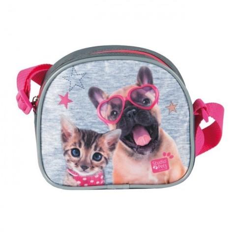 Torebka na ramię Studio Pets szaro-różowa pies i kot