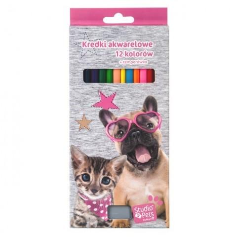 Kredki akwarelowe Studio Pet's z psem i kotem
