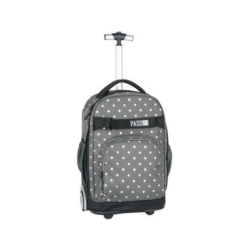 Plecak na kółkach Paso Unique Silver Dots - szary w kropki