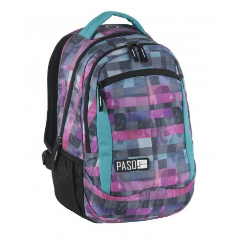 Plecak młodzieżowy Paso Unique Block fioletowa kratka