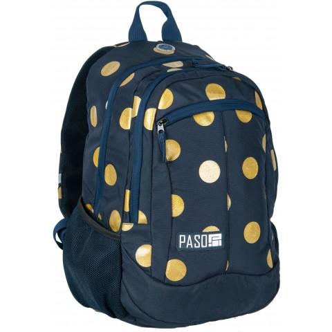 Plecak młodzieżowy Paso Unique Gold Circle w złote kropki