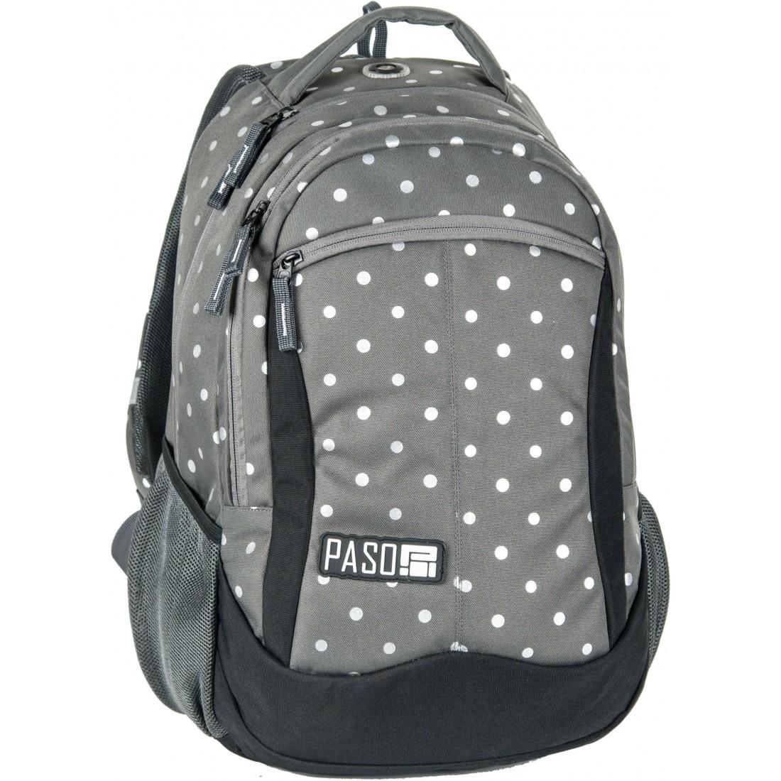 aad0c65ba4fc3 Plecak młodzieżowy do szkoły Paso Silver Dot w kropki dla dziewczyny ...