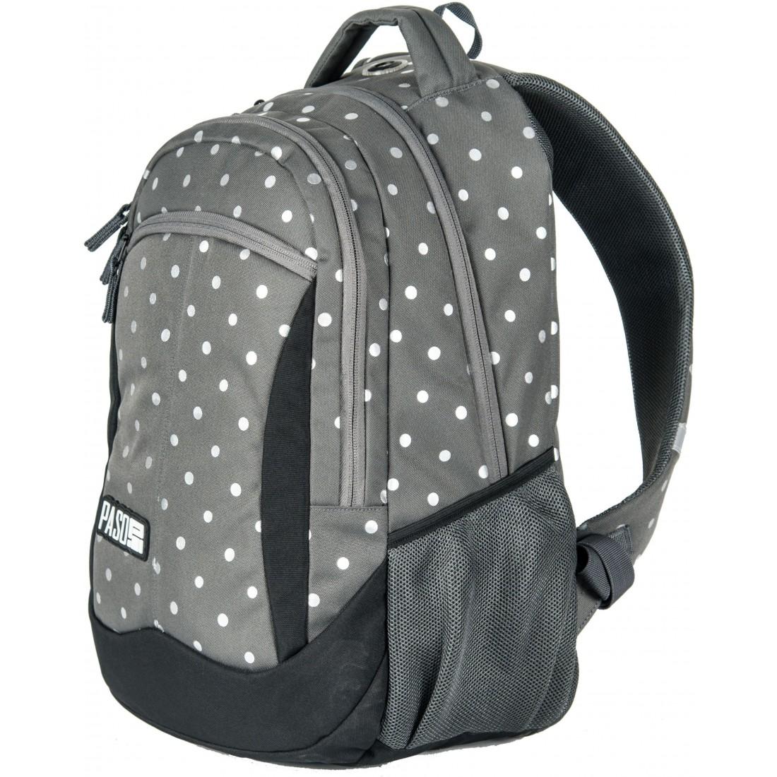 185236613e5c1 Plecak młodzieżowy do szkoły Paso Silver Dot w kropki dla dziewczyny ...