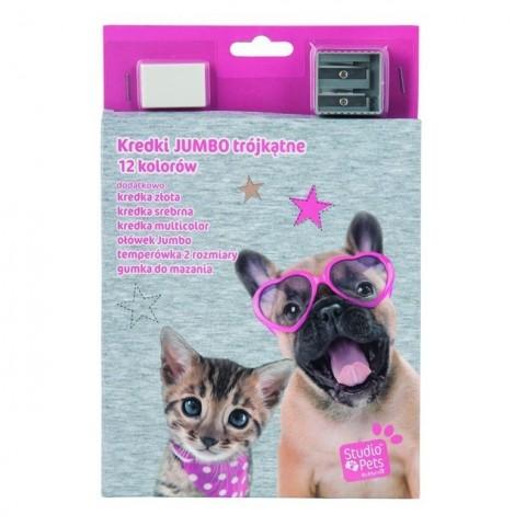 Kredki Jumbo trójkątne szaro-różowy pies i kot