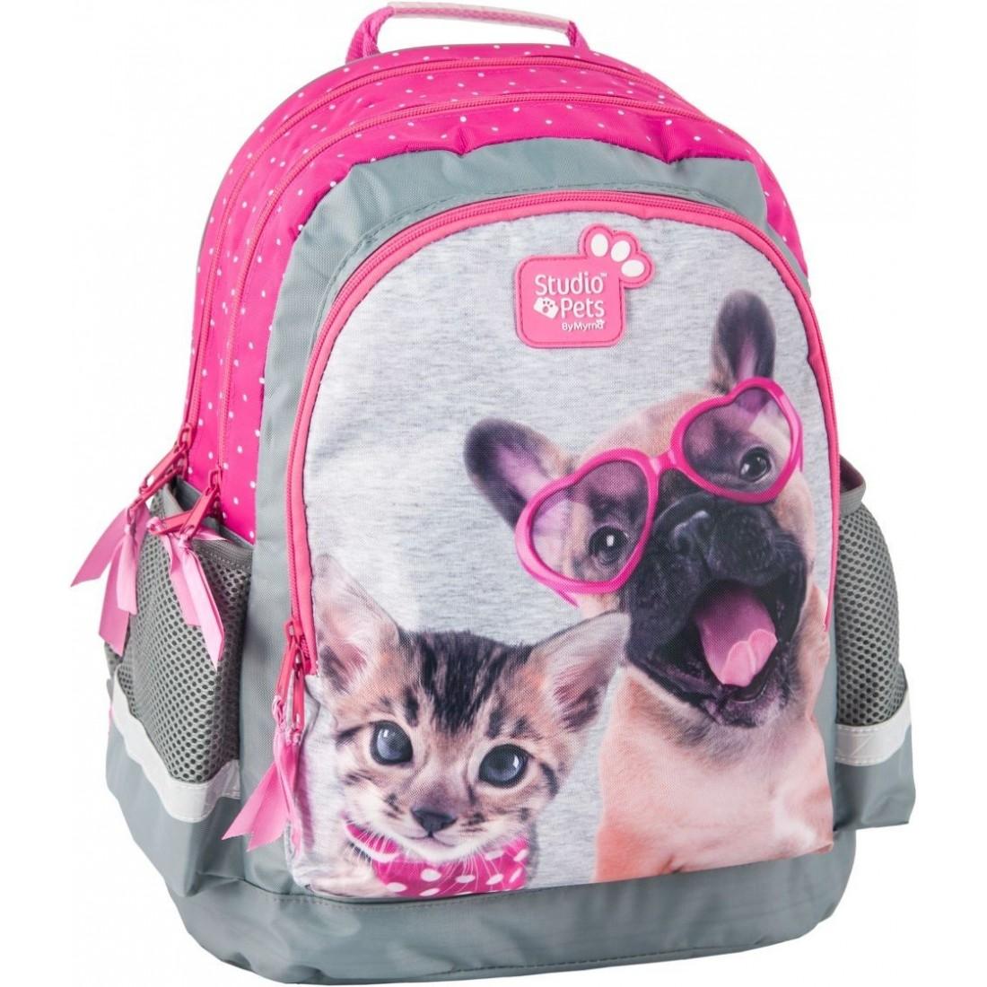 c41577e692017 Plecak szkolny z psem i kotem Studio Pets w kropki - plecak-tornister.pl