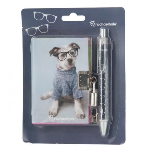 Zestaw z pamiętnikiem Rachael Hale piesek w okularach