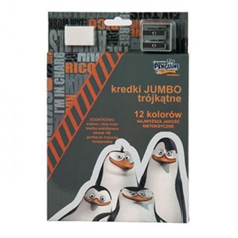 Kredki Jumbo Pingwiny z Madagaskaru szaro-pomarańczowy
