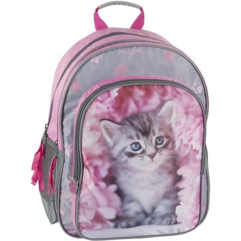 Plecak szkolny Rachael Hale różowy z szarym kotkiem