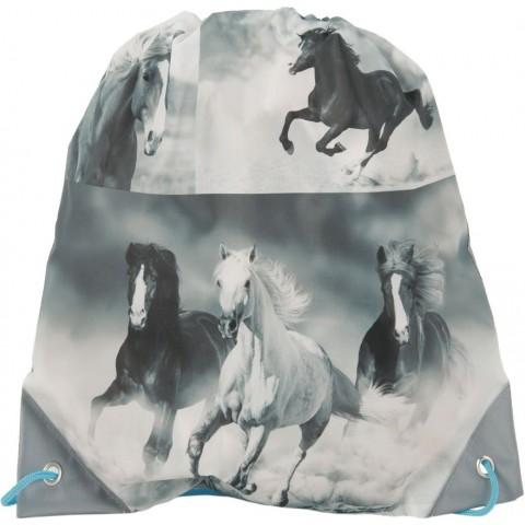 Worek szkolny konie - turkus