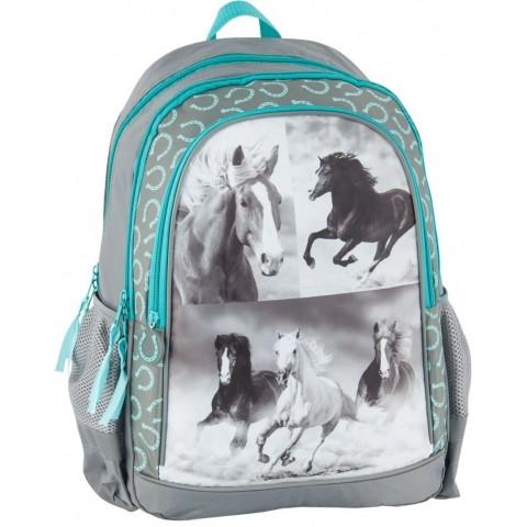 Plecak szkolny konie - turkus