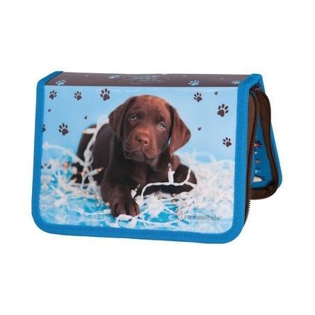 Piórnik z Wyposażeniem niebieski Pies Labrador