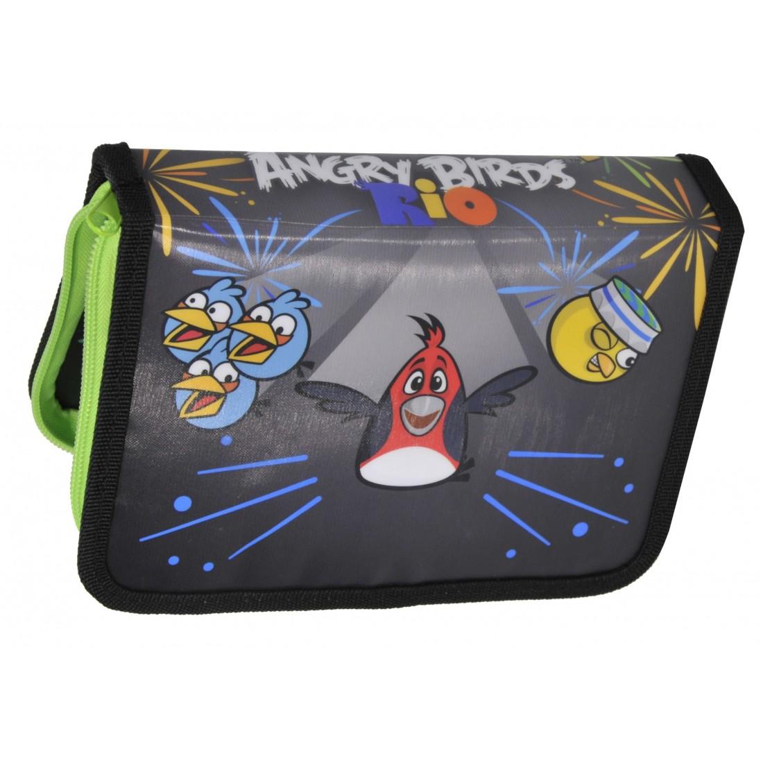 Piórnik z Wyposażeniem Angry Birds Zielony - plecak-tornister.pl
