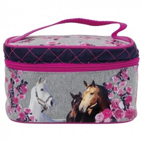 Kosmetyczka/kuferek - Konie 13 szaro-różowa