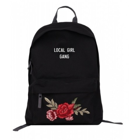 "Plecak simple Roses z napisem ""Local Girl Gang"" czarny/black"