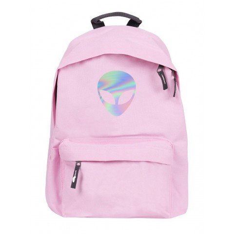 """Plecak miejski z holografcznym nadrukiem """"Alien"""" różowy/pink"""