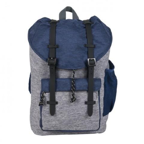 Plecak Paso vintage z klapą szaro-niebieski