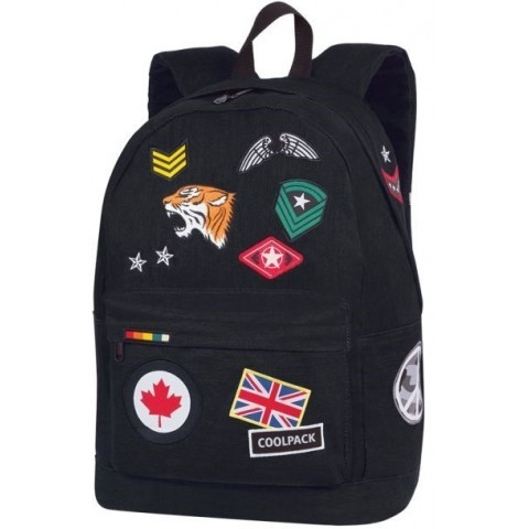 Plecak miejski CoolPack CP CROSS czarny ze znaczkami BADGES BLACK