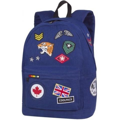 Plecak miejski CoolPack CP CROSS granatowy ze znaczkami BADGES NAVY