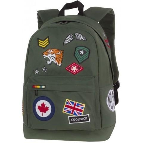 Plecak miejski CoolPack CP CROSS ZIELONY ze znaczkami BADGES GREEN