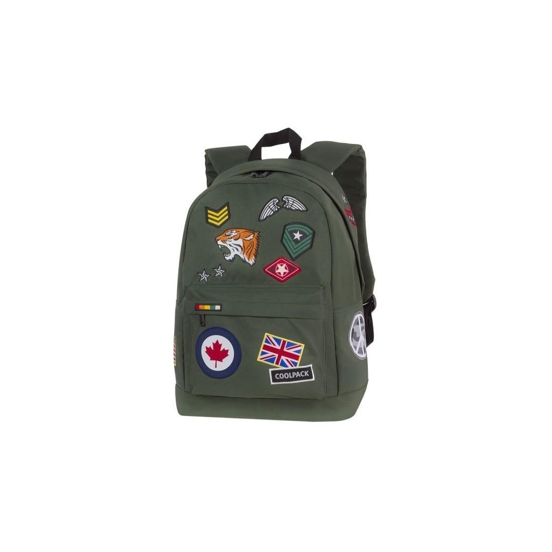 8739c139b49e9 Plecak szkolny CoolPack CP BENTLEY BADGES GREEN zielony z wszywkami ...