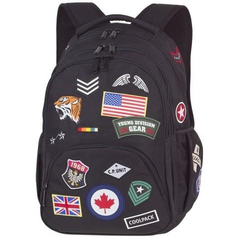 Plecak młodzieżowy CoolPack CP BENTLEY czarny ze znaczkami BADGES BLACK