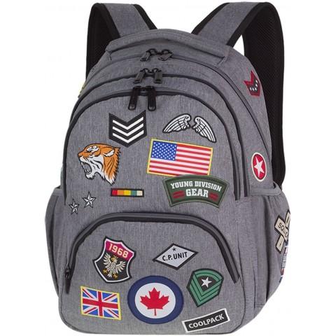 Plecak młodzieżowy CoolPack CP BENTLEY szary ze znaczkami BADGES GREY