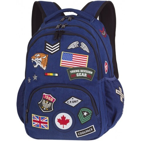 Plecak młodzieżowy CoolPack CP BENTLEY granatowy ze znaczkami BADGES NAVY