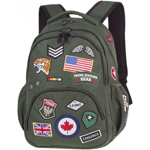 Plecak młodzieżowy CoolPack CP BENTLEY zielony ze znaczkami BADGES GREEN