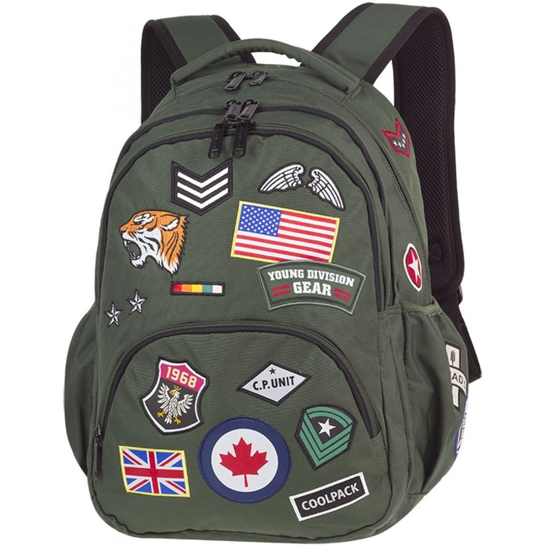 a02c98691b70a Plecak szkolny CoolPack CP BENTLEY BADGES GREEN zielony z wszywkami  wojskowy styl - 415