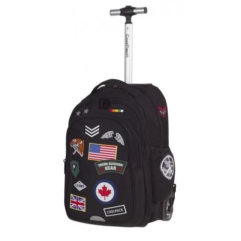 Plecak na kółkach CoolPack CP czarny z wszywkami JUNIOR BADGES BLACK - A424