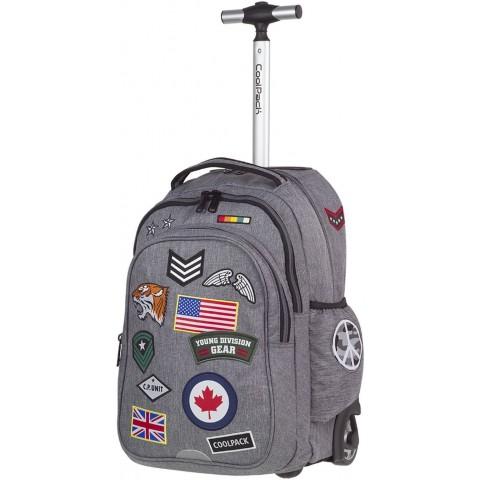 Plecak na kółkach CoolPack CP szary ze znaczkami JUNIOR BADGES GREY A403